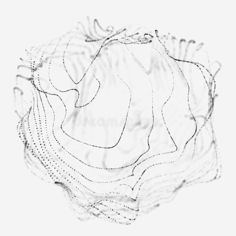 Sph?re 3d abstraite E Lignes rougeoyantes tordant la conception de logo Objet d'espace extra-atmosph?rique futuriste illustration stock