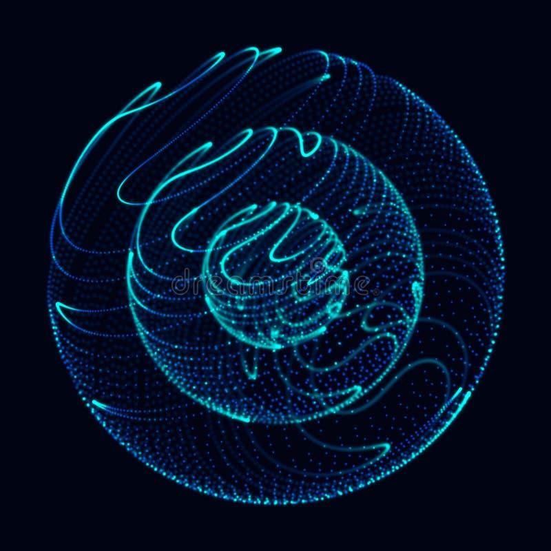 Sph?re 3d abstraite E Lignes rougeoyantes tordant la conception de logo Objet d'espace extra-atmosph?rique Style futuriste de tec illustration de vecteur