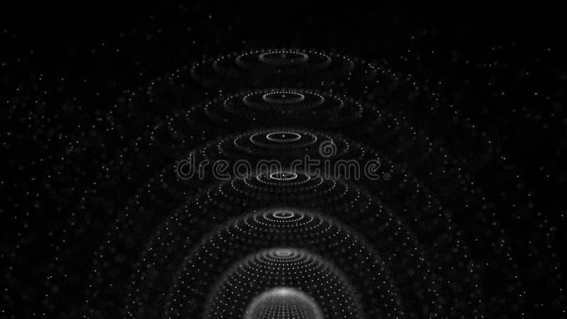 Sph?re 3d abstraite Fond avec la n?buleuse Illustration cosmique de galaxie Particules de sph?re rendu 3d illustration stock