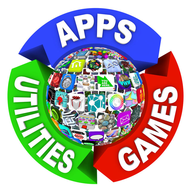 Sphere of Apps in Flowchart Diagram stock illustration