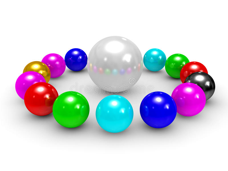 Download Sphere In The Centre And Spheres Built Around Stock Illustration - Image: 11361544