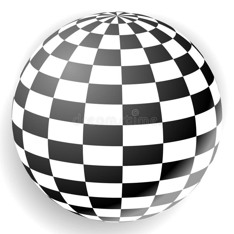 Sphere Checkered. 3d orb z zaznaczonÄ… teksturÄ… ilustracji
