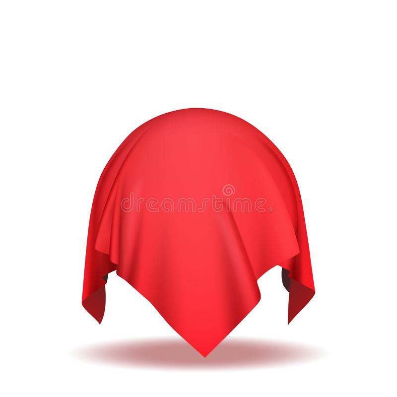 Sphere covered with red silk fabric. On white background isolated vector illustration royalty free illustration