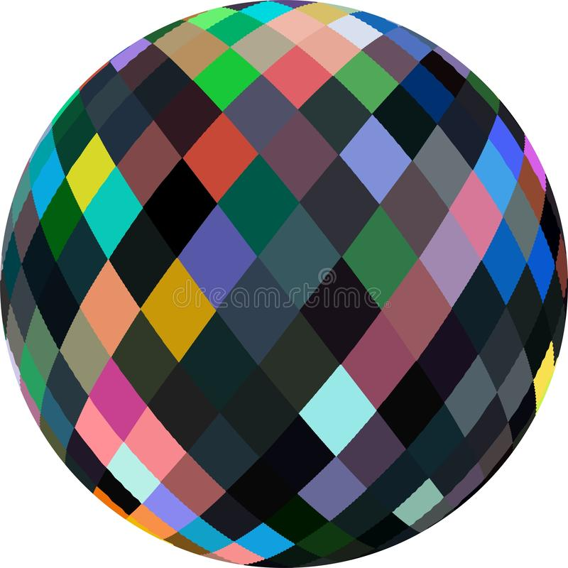 Sphere 3d abstract graphic. Multicolor glass bead on white background isolated. vector illustration