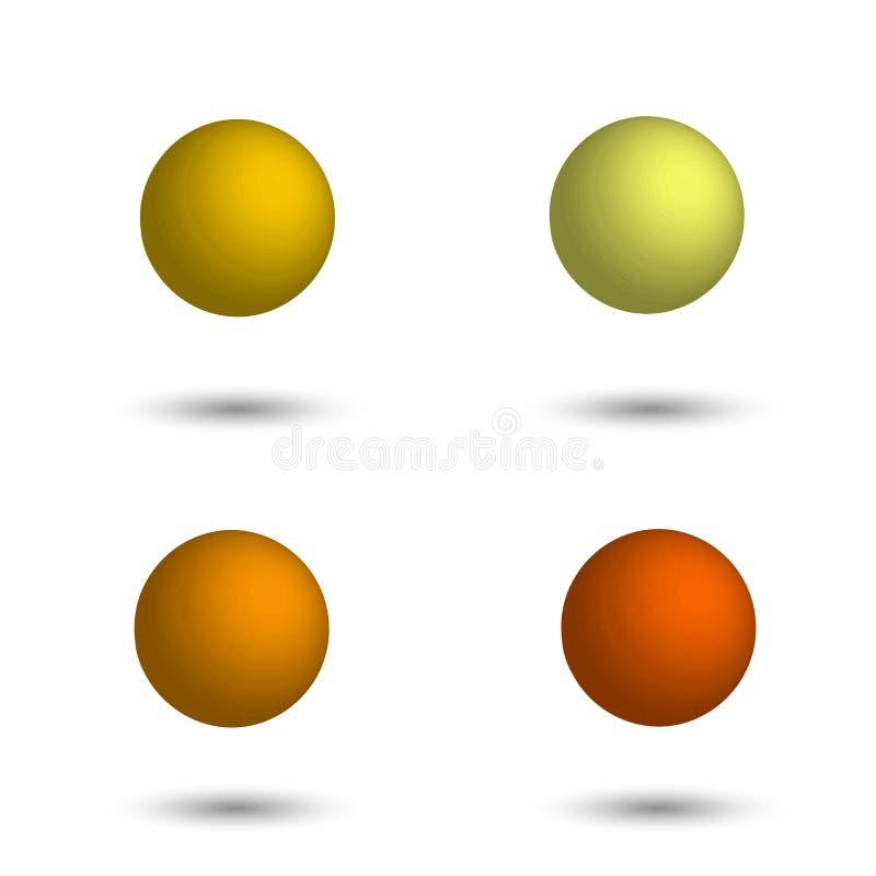 sphere 3d Uppsättning av realistiska bollar av olika skuggor av guling stock illustrationer