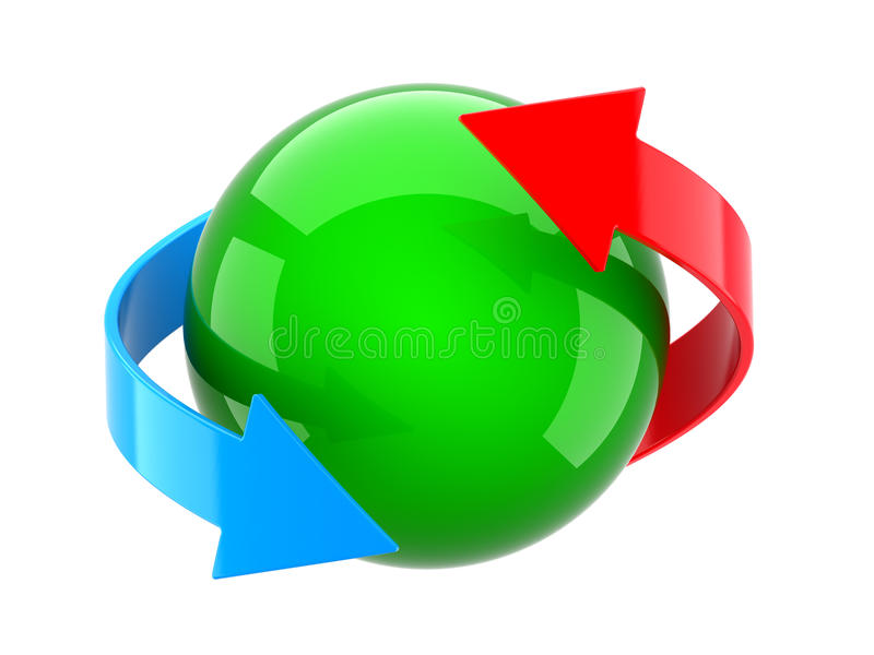 sphere för pilar 3d stock illustrationer