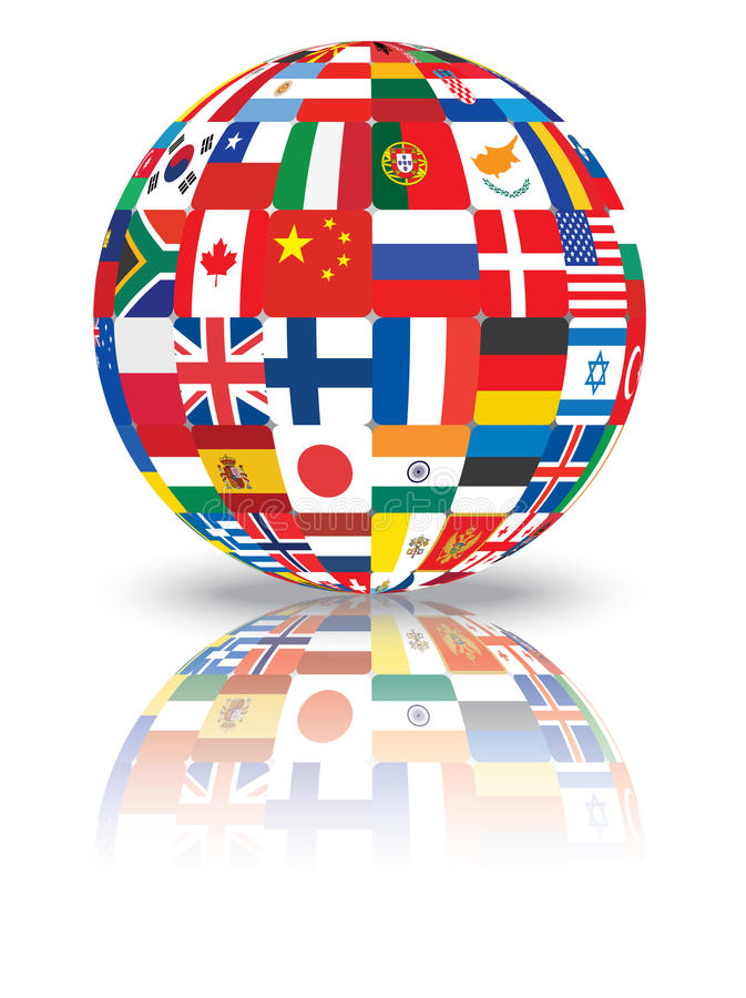 Sphere with flags stock illustration