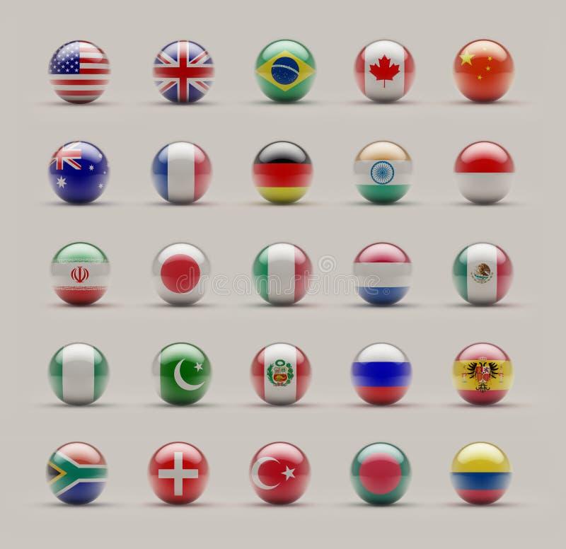 Sphere Flags. World Sphere Icon Flags on Studio shot stock illustration
