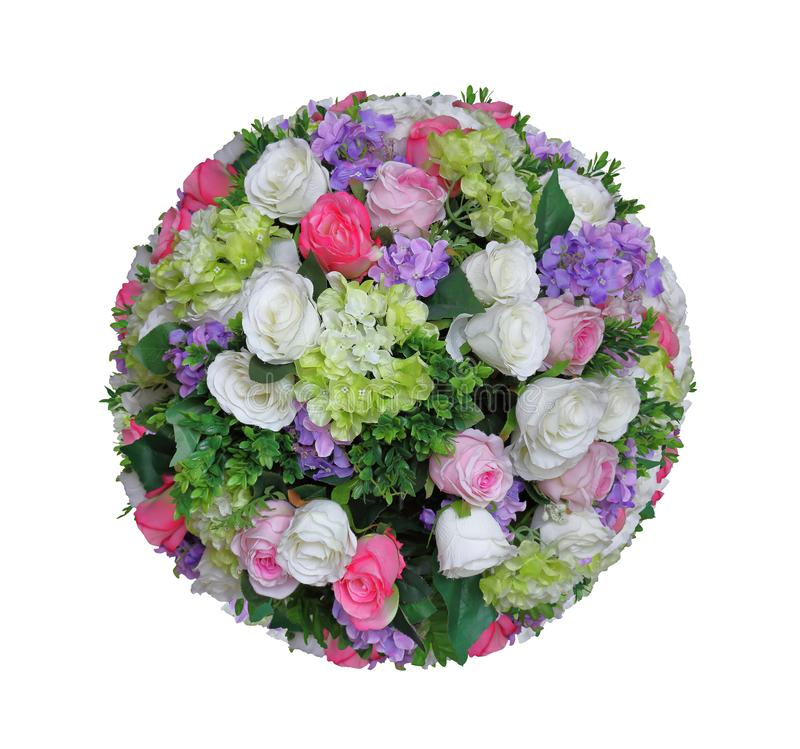Artificial sphere of flower arrangement and decoration in ball shape isolated on white background for wedding and romantic theme d. Sphere of flower arrangement stock image