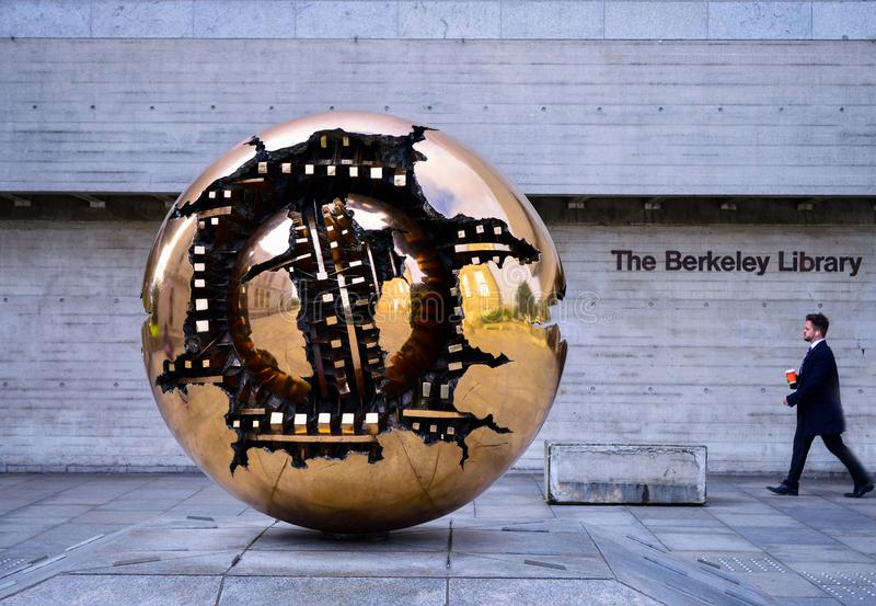 `Sphere With Sphere` in front of Berkeley Library, Trinity College Dublin stock photo