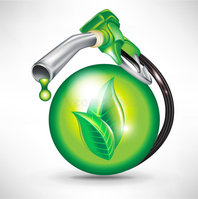 Sphere and gas pump nozzle stock illustration