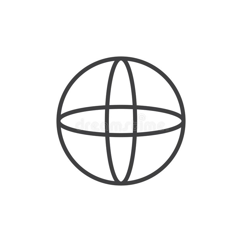 Sphere geometrical figure outline icon. Linear style sign for mobile concept and web design. Sphere geometric shape simple line vector icon. Symbol, logo stock illustration