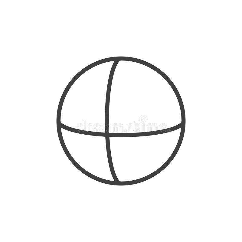Sphere geometrical figure outline icon. Linear style sign for mobile concept and web design. Sphere geometric shape simple line vector icon. Symbol, logo royalty free illustration