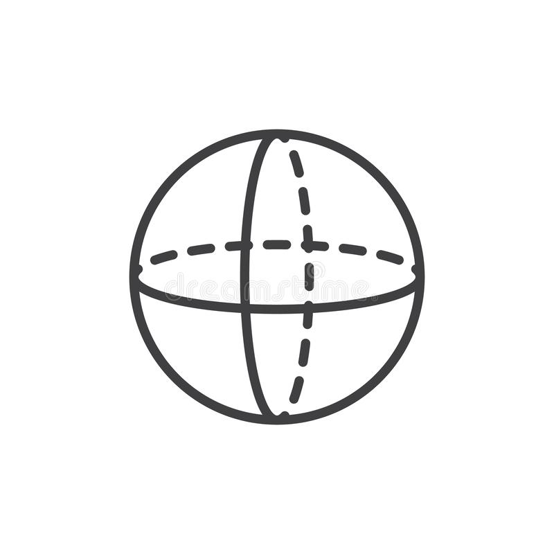 Sphere geometrical figure outline icon. Linear style sign for mobile concept and web design. Sphere geometric shape simple line vector icon. Symbol, logo vector illustration