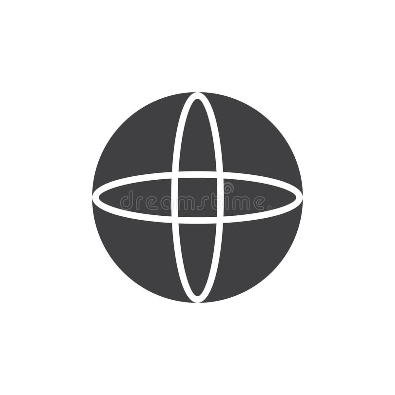 Sphere geometrical figure vector icon. Filled flat sign for mobile concept and web design. Sphere geometric shape simple solid icon. Symbol, logo illustration royalty free illustration
