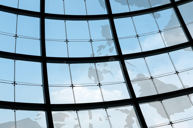 Sphere glass window frame royalty free stock photography