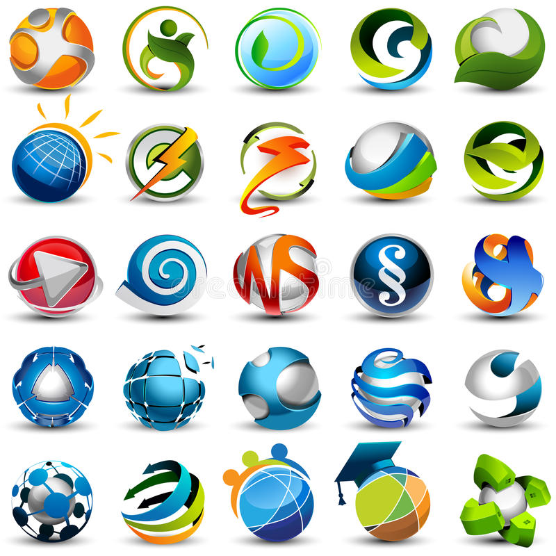 Sphere icons. Set of vector 3d icons