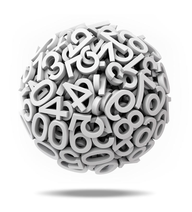 Sphere made of numbers stock illustration