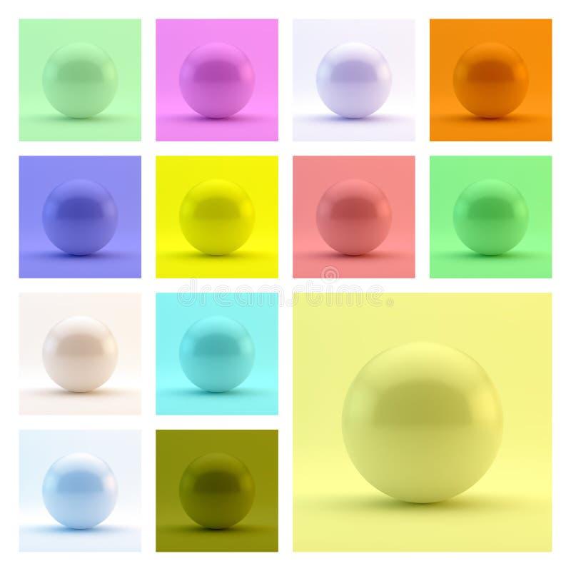 sphere mall för vektor 3d abstrakt illustration stock illustrationer