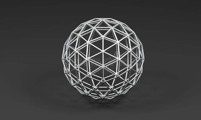 Sphere of metal triangles on gray background - 3D illustration stock illustration