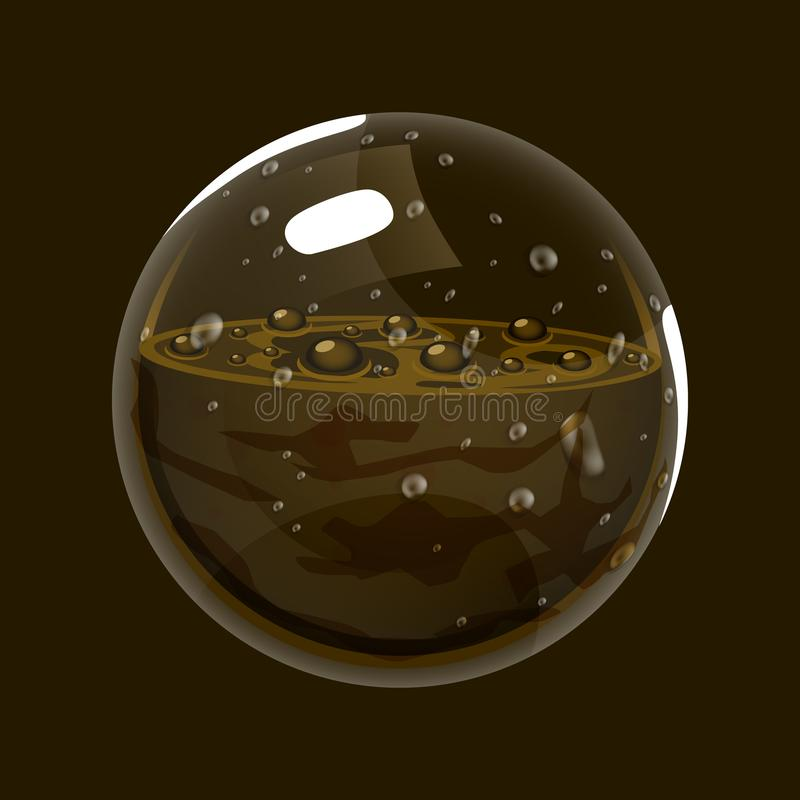 Sphere of mud. Game icon of magic orb. Interface for rpg or match3 game. Earth or mud. Big variant. Vector illustration royalty free illustration