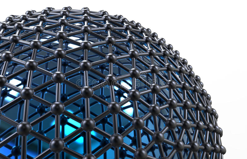 Sphere networking concept. 3D render for the networking concept. The design uses a blue sphere covered with multiple nodes that are linked together. The stock illustration