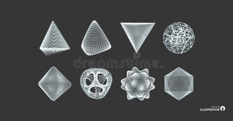 Sphere, octahedron and pyramid. Objects with lines and dots. Molecular grid. Vector illustration. 3d technology style. Futuristic connection structure for royalty free illustration