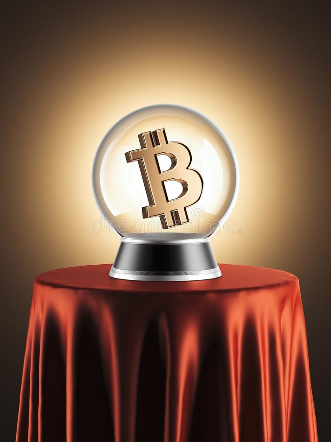 Sphere of predictions with bitcoin symbol inside . 3d rendering royalty free illustration
