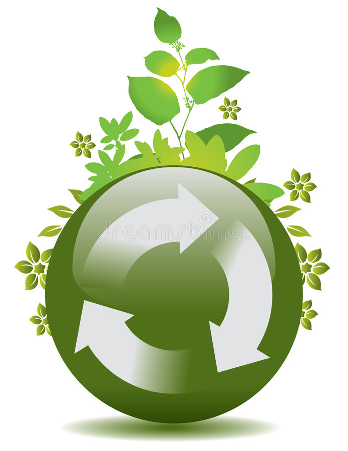 Download Sphere with recycle arrows stock vector. Image of leaves - 8651582