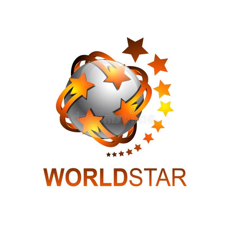Sphere rotate world star logo template vector illustration. Grey orange color stock illustration