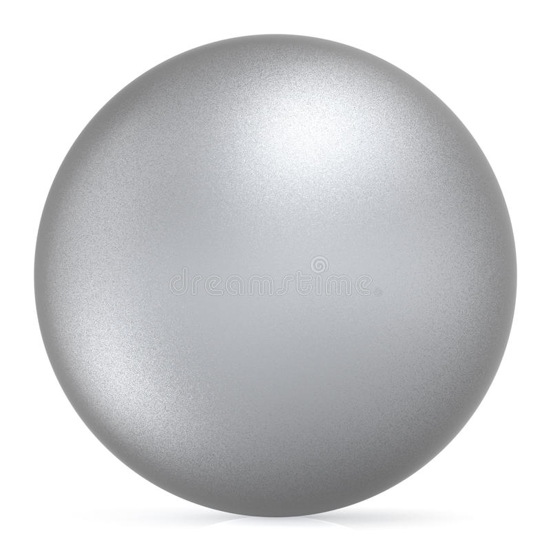 Sphere round button white silver ball basic matted metallic object stock illustration