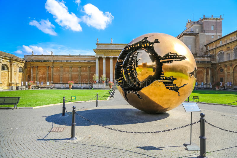 Sphere within sphere in Vatican Museums stock photos