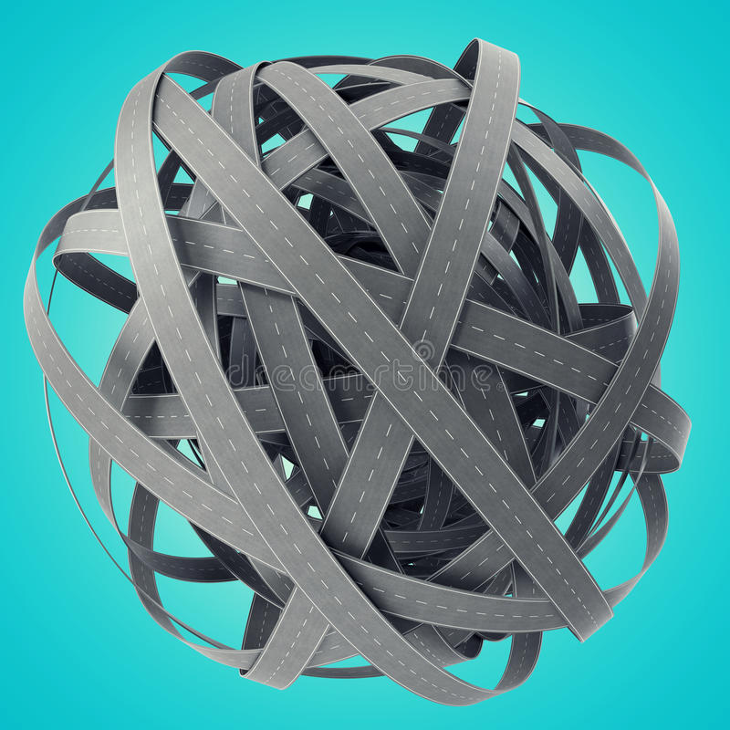 Sphere of tangled roads, on cyan background. 3d illustration vector illustration
