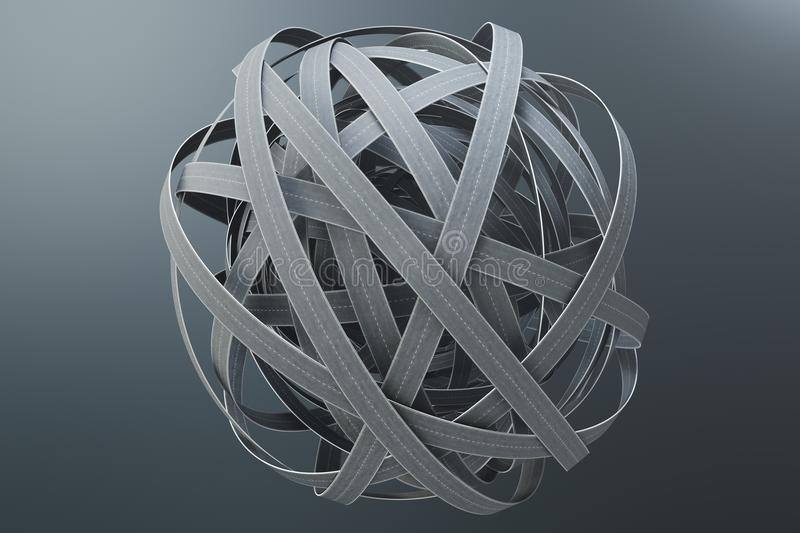 Sphere of tangled roads, on grey background. Abstract road knot. Concept travel, transportation. 3D illustration royalty free illustration