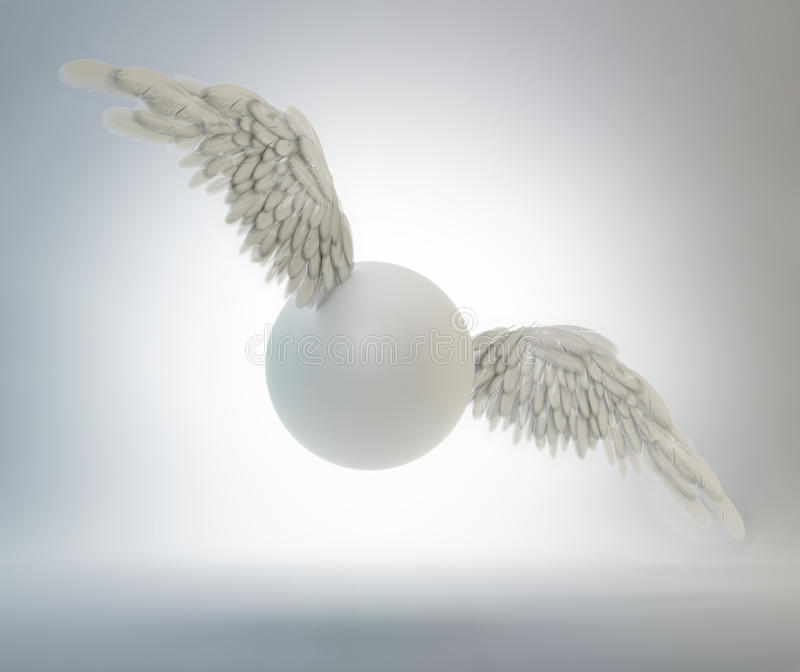 Download Sphere with white wings stock illustration. Illustration of metaphor - 24943167