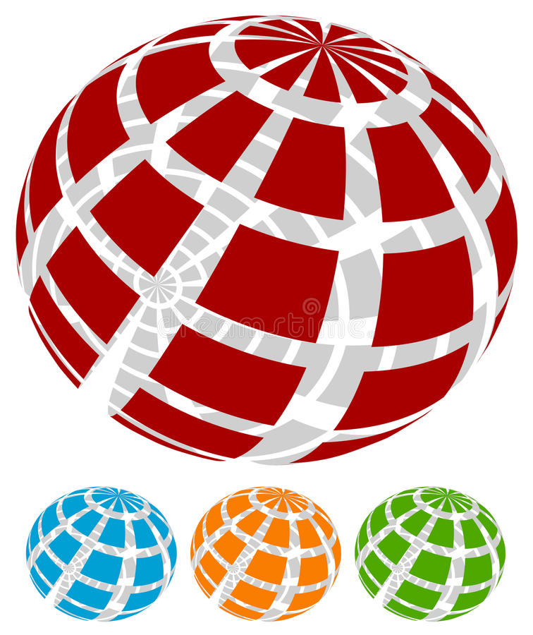 Free Sphere With Grid Of Squares / Textured 3d Sphere Icons Royalty Free Stock Photography - 81796377