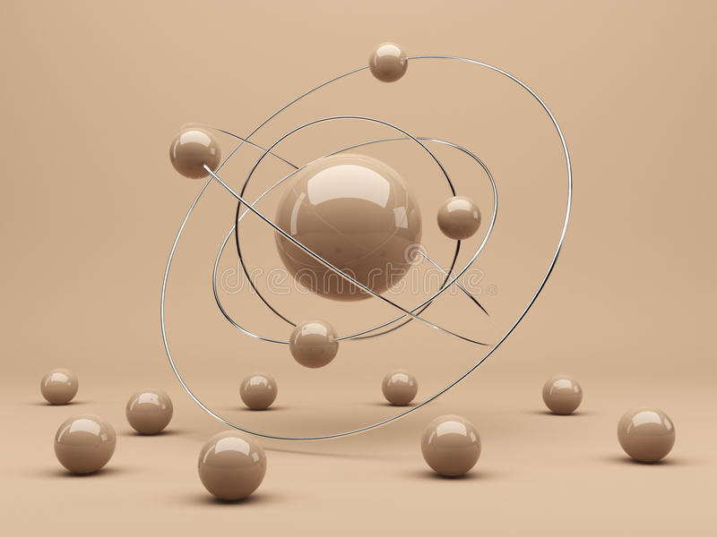 Spheres 3d. Interaction. Abstract background royalty free illustration
