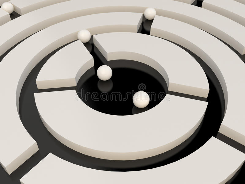 Spheres In An Abstract Maze Royalty Free Stock Photos