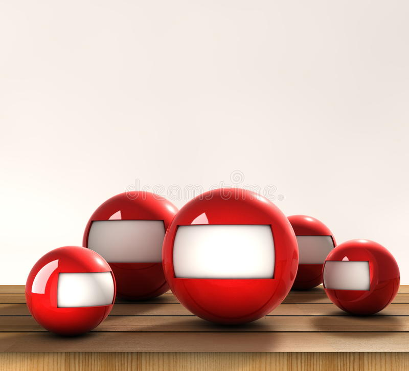 Spheres advertise. Several spheres with blank card to be filled royalty free illustration