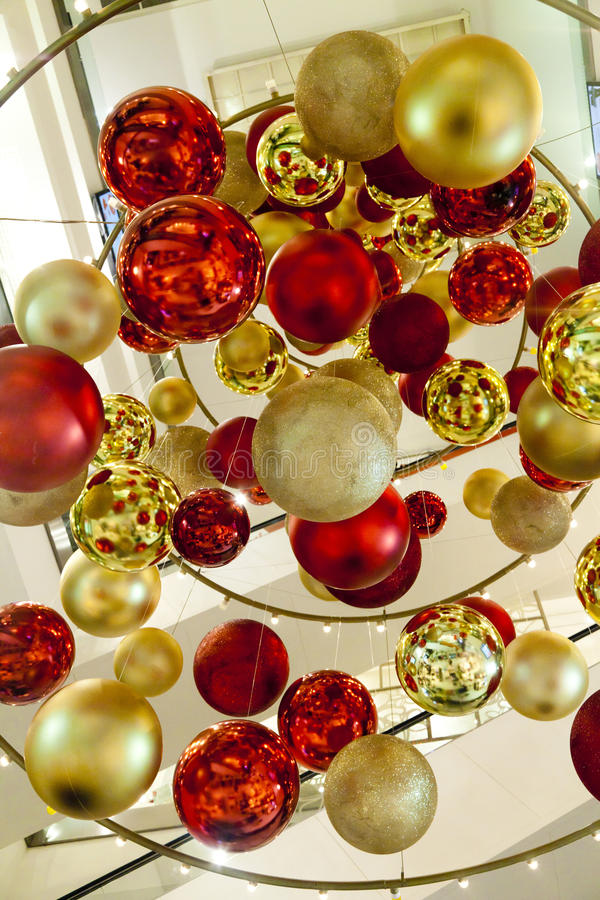 Spheres in air. Multi-colored glass spheres are suspended in air and create huge installation stock photos