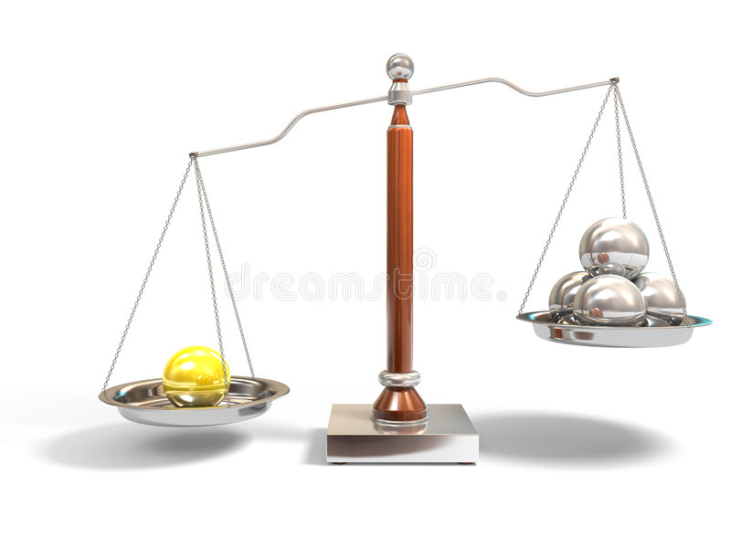 Spheres on balance scale stock photos