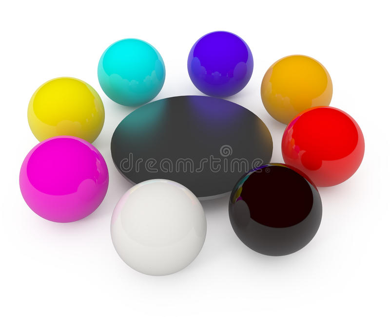 Spheres concept isolated on white royalty free illustration