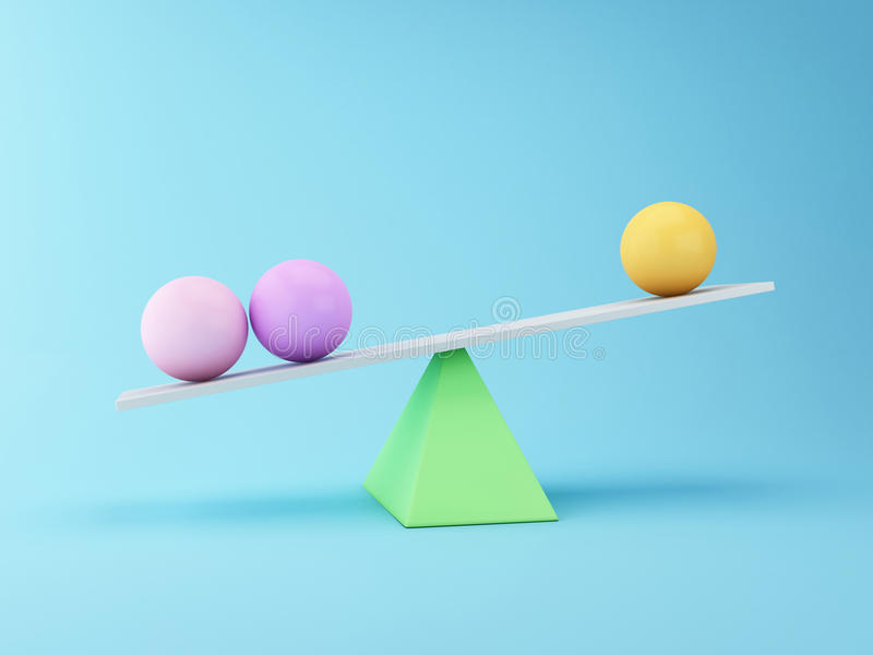 Spheres 3d Balancing on a Seesaw. Business concept. vector illustration