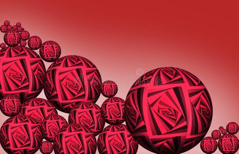 Spheres in empty space, abstract chaotic bubbles. Group of colored 3d spheres. Color red balls on dark background.  3D stock illustration