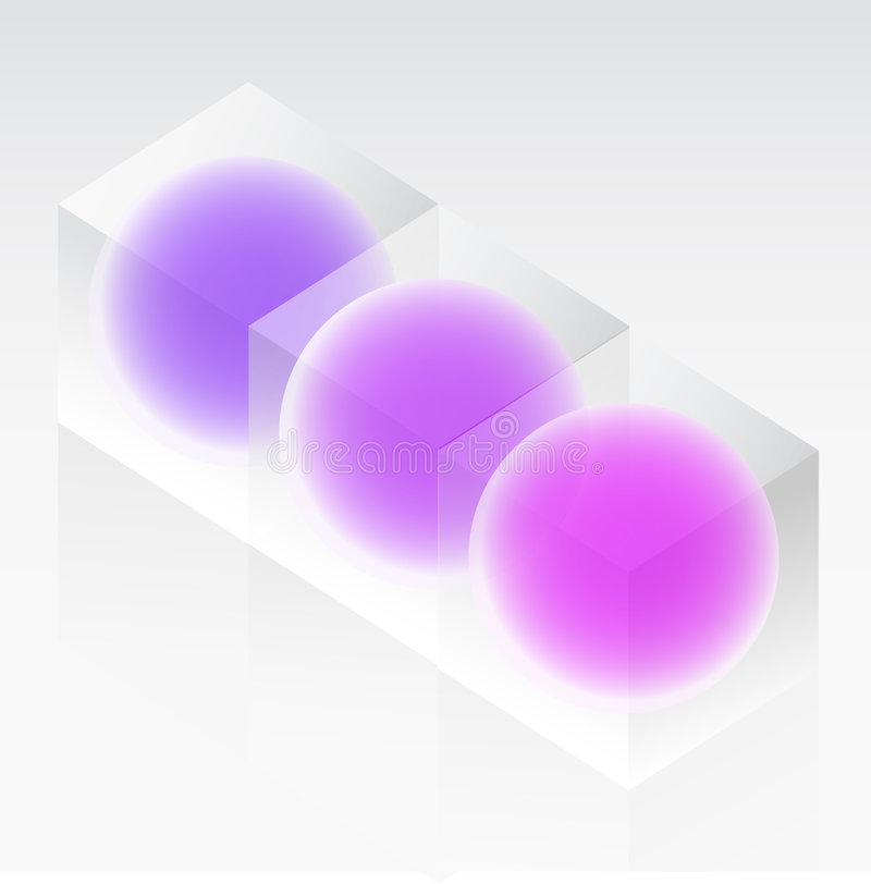 Spheres In Glass Cubes Stock Photos