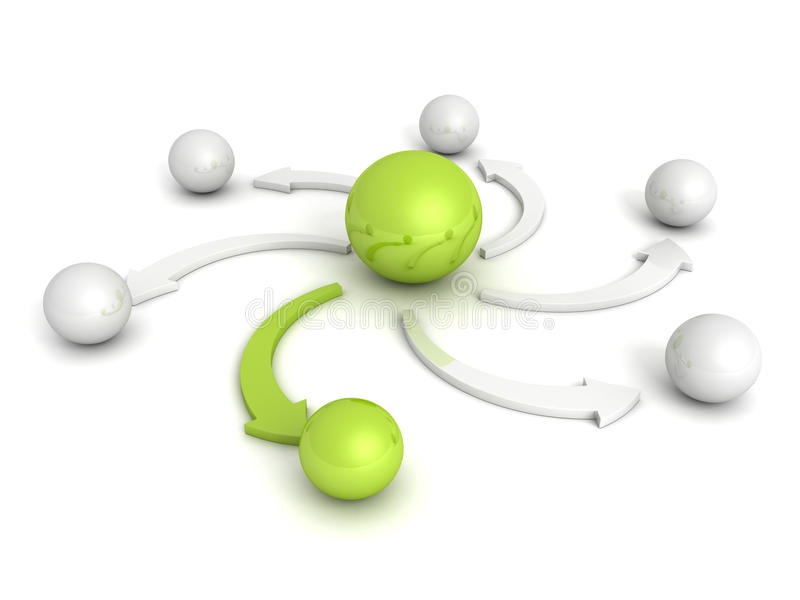 Spheres with green leader and arrow vector illustration