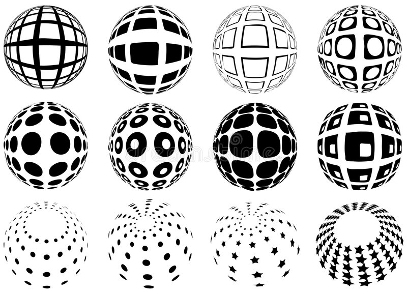 Spheres With Grid Pattern Stock Image