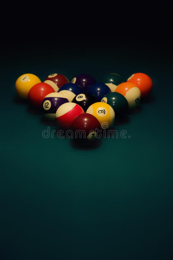 Spheres for pool on green cloth stock photography