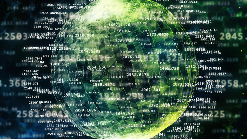 Spheric cyberspace med frihet och längd stock illustrationer