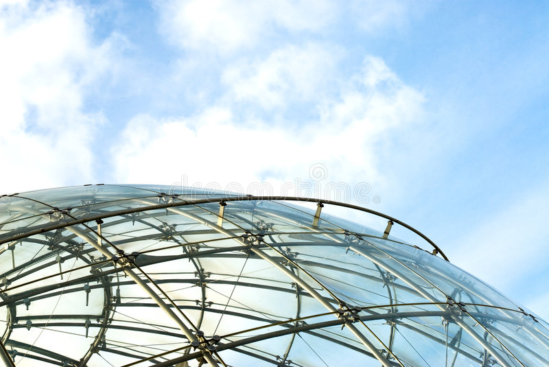 Spheric structure. Portion of spheric structure made of glass and iron